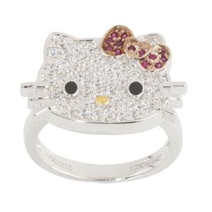 Hello Kitty Diamonique Sterling Klassic Kitty Ring